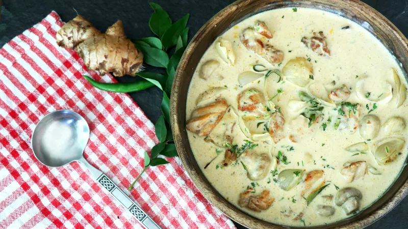 Kerala style chicken curry with coconut cream