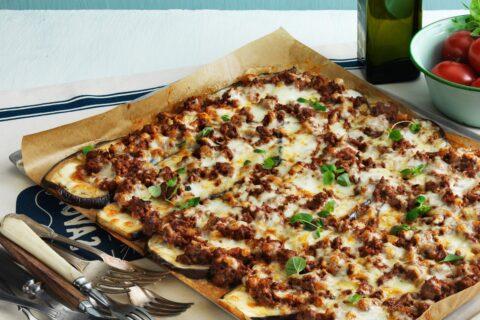 Low carb eggplant pizza